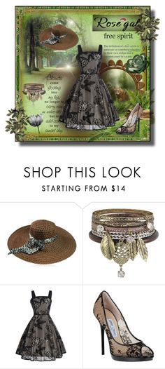 """""""Kiss of nature - Rosegal Lace vintage dress"""" by kmorena ❤ liked on Polyvore featuring Cappelli, Jimmy Choo and vintage"""