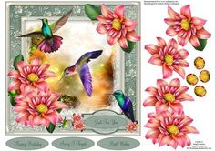 Moonlight Humming Birds Topper with Decoupage on Craftsuprint - Add To Basket!