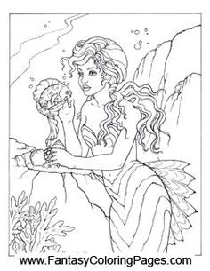 16 beautiful mermaids pdf format and sizeed for x paper so they are perfect for printing color and even framing if you would like - Coloring Pages Pretty Mermaids