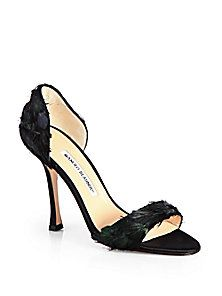 Manolo Blahnik - D'Orsay Satin and Feather Pumps