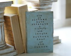 Custom for Linda - She is Clothed with Strength & Dignity...Proverbs 31:25 - Original Mixed Media Book Cover Card - Distressed Blue - Edit Listing - Etsy