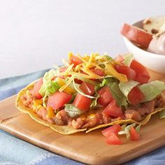 Tex-Mex Tostadas... (once again, add chicken.  Don't these people like protein?)