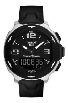 Tissot Men's Swiss Analog-Digital T-Race Touch Black Rubber Strap Watch Tissot T Touch, Tissot T Race, Luxury Watches For Men, Cool Watches, Men's Watches, Wrist Watches, Fancy Watches, Amazing Watches, Dream Watches