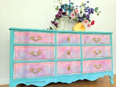 A french provincial dresser that I created by using layers and layers of paint and doing the drip and blend method.  Many colors used on this. You also need to have a misting water bottle for the drips.  You layer when the layers dry.  I create custom pieces for shipping through US.  Messge me through my website if you have questions Custom Furniture, Painted Furniture, French Provincial Dresser, Layers, Water Bottle, Decorating, This Or That Questions, Website, Create