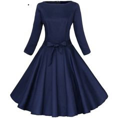 Jiuzhoudeal Women's 3/4 Sleeve 1950s Vintage Rockabilly Swing Party... ($22) ❤ liked on Polyvore featuring dresses, three quarter dress, three quarter length sleeve dress, blue dress, vintage cocktail dress and 3/4 sleeve cocktail dress