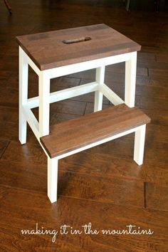 Ikea Stool painted white and Minwax Special Walnut stain on steps