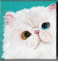 White Persian Cat  Original  mini painting on by SharonFosterArt, $22.00