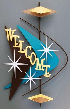 Mid century modern sign / retro home decor Mid Century Modern Decor, Mid Century Art, Mid Century Style, Mid Century House, Mid Century Design, Retro Home Decor, Vintage Decor, Retro Art, Retro Room