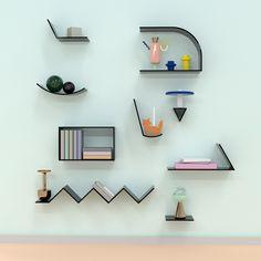 New Furniture Design Living Room Shelves Ideas Living Room Shelves, Wall Shelves, Wall Racks, Plafond Design, Modular Shelving, Memphis Design, Deco Design, Pop Design, Interiores Design