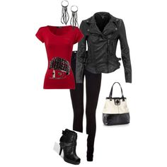 leather jacket, heels, leggings and shirt- love them