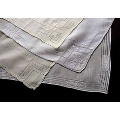4 Antique VIntage White Ivory Cutwork Handkerchiefs Hand Embroidery... ($33) ❤ liked on Polyvore featuring accessories and scarves