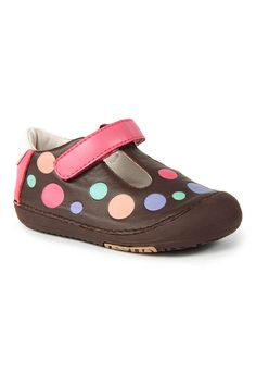 Shoes With Flexible Sole In Polka Dots Brown