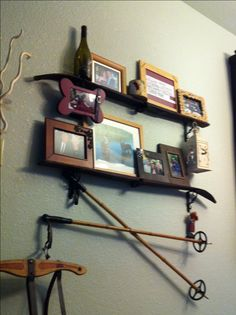 Vintage ski shelves. This is what we should do with Kay's old skis!