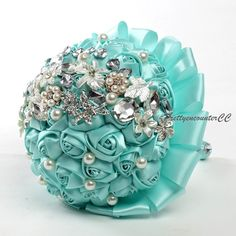 Sky Blue Wedding Bouquet Handmade Flowers by PrettyencounterCC