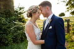 A Rustic Barn Wedding With a Bride in Catherine Deane and a Dried Flower Crown. Photography by Jo Hastings.
