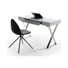 Office-Study-Computer Desk with Stainless Steel Legs in High Gloss White Finish