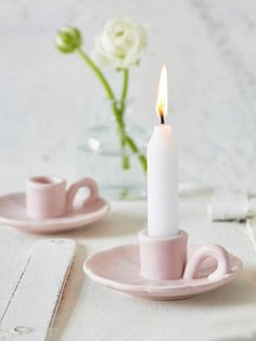 Blush Pink Candle Holder. Add a little romantic vintage to your home with these pretty in pink candle holders. #nordichouse #pink #candleholder