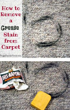 Grease stains can be the worst to remove. Here's how to remove a grease stain from carpet. Deep Cleaning Tips, Cleaning Recipes, House Cleaning Tips, Diy Cleaning Products, Cleaning Hacks, Cleaning Supplies, All You Need Is, Grease Stains, Remove Stains