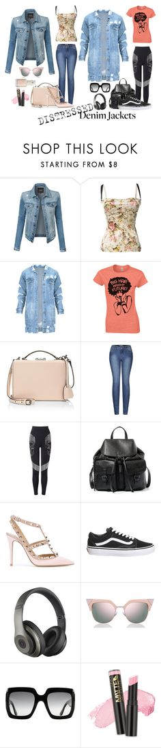 """""""Distressed Denim #4 - Jackets"""" by trickpink ❤ liked on Polyvore featuring LE3NO, Dolce&Gabbana, Mark Cross, 2LUV, Steve Madden, Valentino, Topshop, Beats by Dr. Dre, Fendi and Gucci"""