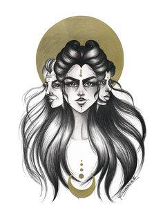 Lidiane Dutra | Ilustração: Hécate #illustration #drawing #mithology #goddess…