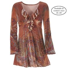 Copper Paisley Top. Cute with leggings.