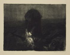 """Käthe Kollwitz. Battlefield. 1907. Etching on heavy yellowish wove paper. Signed, lower right. 16 1/4"""" x 20 7/8"""" (41.2 x 52.9 cm). From the 1921 Richter edition of 200 impressions. Plate 6 from the cycle Peasants' War. Knesebeck 100/XIb."""
