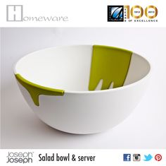 Salad bowl & server from Joseph Joseph UK - Salad bowl and hands on for mixing - Melamine-food safe - White & green - BD 20 Joseph Joseph, Salad Bowls, Good Company, Safe Food, Serving Bowls, Hands, Tableware, Green, Dinnerware