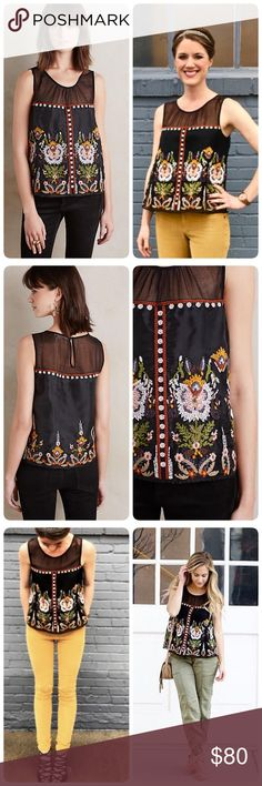 """Anthropologie Nalini embroidered tank This is a beautiful shirt. Dressy, imo. It's TTS, I would not size down in this shirt. ❤️Can wear w/ black, white, moss, khaki, jeans, etc... Love it.Polyester, rayon; polyester lining Embroidered detail, Dry clean                      length 22.7"""" pit to pit 17.5"""" It will fit XS/S too Anthropologie Tops"""