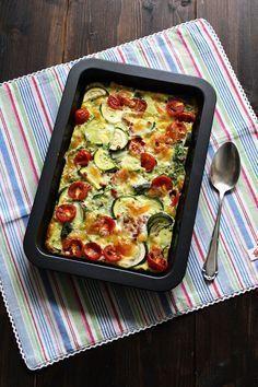 Es gibt bei mir aktuell sehr viele Dinge mit Zucchini und Tomaten. Unter anderem habe ich auch eine leckere Frittata gemacht, die mit beidem bestückt ist. Frittata ist ein italienisches Omelette ähnli