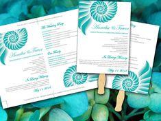 Beach Wedding Fan Microsoft Word Template - Spiral Shell Teal Gray Ceremony Program - Outdoor Wedding Program Favor - DIY Wedding Template by PaintTheDayDesigns, $10.00