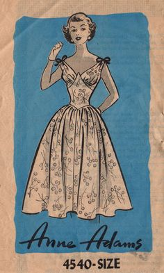 Anne Adams 4540 1950s Jr Misses Rockabilly Dress Pattern Shaped Neckline and Basque Waist womens vintage sewing pattern by mbchills
