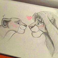Easy Love Drawings, Easy Disney Drawings, Disney Drawings Sketches, Art Drawings Sketches Simple, Cartoon Drawings, Drawing Disney, Sketches Of Love, Lion King Drawings, Lion King Art
