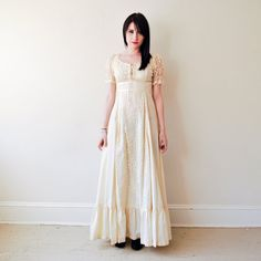 vintage 1960s/1970s hippie cream cloth maxi dress by RockAndRollVintage, $225.00