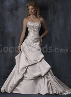 A-line Strapless Sweep Train Satin Ruffles , Appliques , Beading Wedding Dress