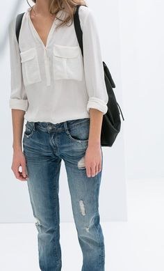 Minimal + Classic: Jeans, white shirt / Zara