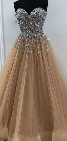 Sweetheart Long A-line Rhinestone Beaded Tulle Prom Dresses, Prom Dres Berryera Tulle Prom Dress, Pageant Dresses, Dance Dresses, Homecoming Dresses, Evening Dresses, Bridesmaid Dress, Beaded Dresses, Dresses For Graduation, 8th Grade Prom Dresses