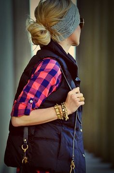 Vest, bright pink & blue plaid flannel, chunky gold bracelets...I can make this outfit happen!