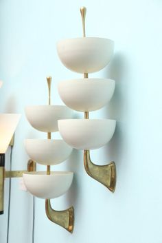 Pair of 3-Cup Sconces by Stilnovo