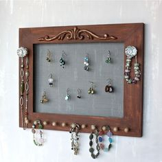 Earring & Jewelry Organizer in Brown Wall Mount by onthewallusa