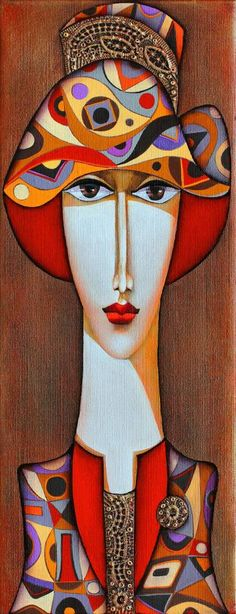 'Lady with Hat' - by Wlad Safronow, Ukranian artist, born 1965 in Kharkov, Ukraine. Art And Illustration, Wal Art, Arte Pop, Silk Painting, Portrait Art, Portraits, Figurative Art, Female Art, Modern Art