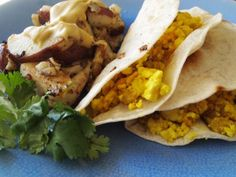 Vegan Sausage & Egg Breakfast Tacos with Hashbrowns. Seriously craving tacos right now.