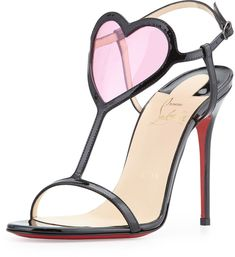 Christian Louboutin Cora Heart Red Sole Sandal, Black/Pink