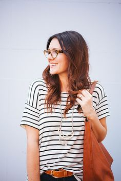 Like the blousy T-shirt style that isn't too casual. Like the stripes going in different direcctions