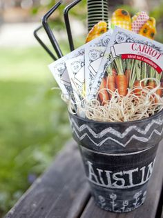If you aren't into sweets, make a garden lover's basket instead. Apply chalkboard paint to a terra cotta pot. Once dry, rub with chalk, lightly coating entire pot to cure the paint. Wipe off excess and write or draw Easter messages with chalk or a chalkboard pen. Fill with gardening goodies.