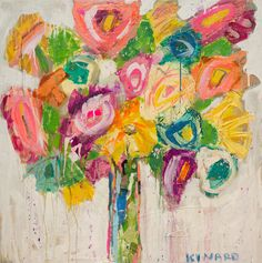 Christy Kinard, a southern mixed media artist, creates rich floral compositions and impressions of Southern life and it's cultural traditions. Colorful Quilts, Arte Floral, Mixed Media Artists, Flower Art, Flower Power, Pink Flowers, Abstract Art, Artsy, Wall Art
