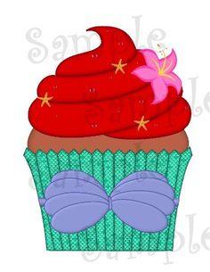 DIGITAL Cupcake Mermaid Ariel Inspired Printable Personalizeable Personalizable File DIY