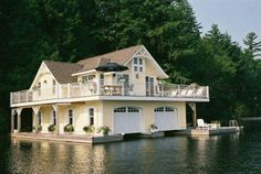perf lake house boat garage-plus extra space Boat Garage, Up House, Boat House, River House, Cabin In The Woods, Floating House, Architecture, My Dream Home, Future House