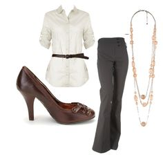 cute business outfits | Products: Shoes- Lori's Shoes , Blouse- Forever 21 , Slacks- Styles ...