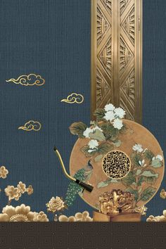 Retro New Chinese Real Estate Background Gold Flower Background Wallpaper, Retro Background, Flower Backgrounds, Phone Wallpaper Design, Cellphone Wallpaper, Chinese New Year Background, New Years Background, Feng Shui Art, Chinese Posters