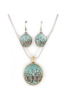 Patinated Tree of Life Necklace Set on Emma Stine Limited